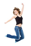 Girl jumps with happiness. Royalty Free Stock Image