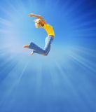 Girl Jumps In The Sky Royalty Free Stock Photos