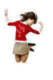 Girl jumps with joy (shoes in movement. The Image of the girl at the moment of the big pleasure Stock Photos