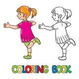 Girl jumps on one leg. Coloring book or coloring picture of small girl jumping on one leg Stock Photos
