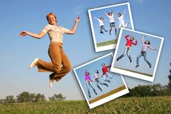 Girl jumps and photos of jumpimg girls, collage royalty free stock image