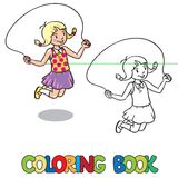 Girl jumps with rope . Coloring book Royalty Free Stock Image