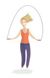 The girl jumps on a skipping rope Royalty Free Stock Photos