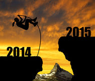 Girl jumps to the New Year 2015 Stock Photos