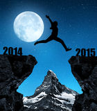 Girl jumps to the New Year 2015 Stock Image