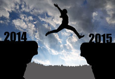 Girl jumps to the New Year 2015 Royalty Free Stock Photos