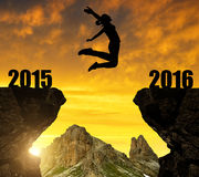 Girl jumps to the New Year 2016. Silhouette the Girl jumps to the New Year 2016 Royalty Free Stock Images