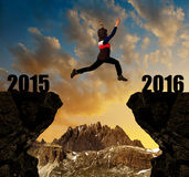 Girl jumps to the New Year 2016 Royalty Free Stock Image