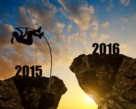Girl jumps to the New Year 2016 Stock Photography