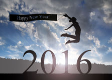 Girl jumps to the New Year 2016 Stock Images