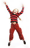 Girl jumps on a white background Stock Images