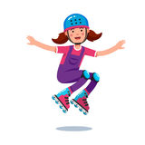 Girl in jumpsuit, helmet jumping on roller blades. Cute smiling teen girl in jumpsuit wearing helmet and kneepads jumping and rolling on roller blades. Flat Royalty Free Stock Photography