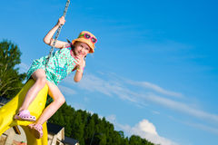 Girl and jungle gym Royalty Free Stock Photography