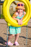 Girl and jungle gym Royalty Free Stock Images