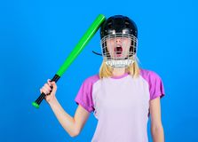 Girl just want have fun. Play game for fun. Woman having fun during baseball game. Girl pretty blonde wear baseball royalty free stock images