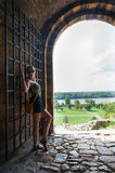 Girl at Kalemegdan Park Fortress Stock Photo