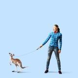 Girl with kangaroo Royalty Free Stock Photo