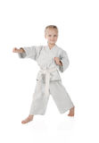 Girl - karateka in kimono Royalty Free Stock Photography