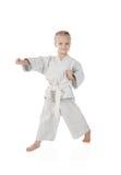 Girl - karateka in kimono Royalty Free Stock Photography