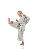 Girl - karateka in kimono Royalty Free Stock Photos