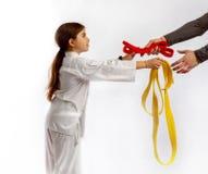 Attestation of karate girls Stock Photo