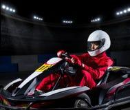 Girl karting racer at stadium Stock Image