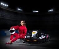Girl karting racer at stadium Stock Images