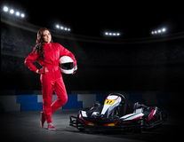 Girl karting racer at stadium Stock Photo