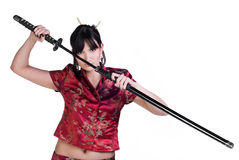 Girl with katana Royalty Free Stock Photography