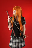 Girl with katana sword Stock Photography