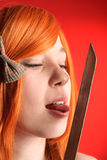 Girl with katana Stock Photos