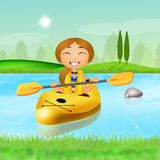 Girl with a kayak Royalty Free Stock Photography