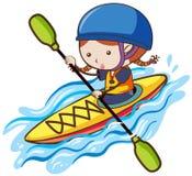 A Girl Kayaking in River. Illustration Stock Photo
