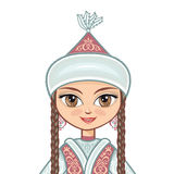 The girl in  Kazakh dress. Historical clothes. Portrait, avatar Royalty Free Stock Photo