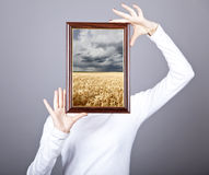 Girl Keep Frame With Wheat Field And Rain Inside. Stock Image