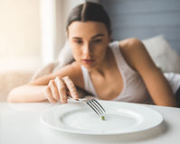 Girl keeping diet Royalty Free Stock Images
