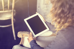 Girl keeping digital tablet Stock Photography