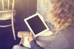 Girl keeping digital tablet Stock Photography