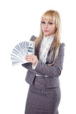 Girl keeping a dollars Stock Images
