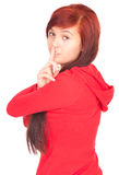 Girl keeping silent sign Royalty Free Stock Photography
