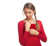 Girl keeping small red heart Royalty Free Stock Photos
