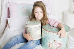 The girl keeps the gift Royalty Free Stock Photography