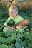 The girl keeps in the hands of the pumpkin. The girl keeps in the hands of a pumpkin, helping to gather in the garden royalty free stock images
