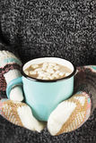 Girl keeps a mug of hot cocoa with marshmallows in mittens Stock Image