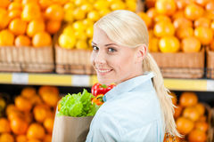 Girl keeps package with fresh vegetables Stock Image