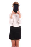 Girl keeps tablet pc the face Stock Images