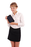Girl keeps tablet pc Royalty Free Stock Photos