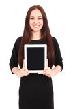 Girl keeps tablet pc. Isolated on white background Stock Photo