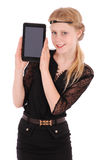 Girl keeps the tablet pc on the part face Stock Photography