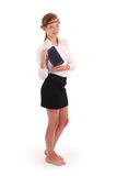 Girl keeps tablet pc standing sideways Stock Photography